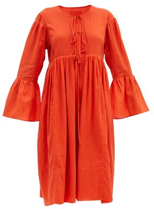 Loup Charmant Minerva Bell-sleeve Organic-cotton Dress - Red