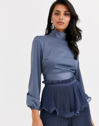 True Decadence high neck sateen top with blouson sleeve and back bow detail in dark blue