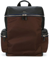 Paul Smith side pockets structured backpack - men - Calf Leather/Nylon/Polyacrylic - One Size