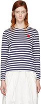 Comme des Garcons Navy Long Sleeve Striped Heart Patch T-Shirt