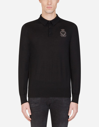 Dolce & Gabbana Cashmere Polo Neck With Heraldic Patch