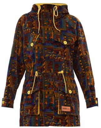 M Missoni Geometric-print Upcycled Cotton-velvet Parka Coat - Womens - Khaki Multi