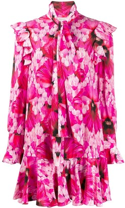 Alexander McQueen Hibiscus Print Flared Mini Dress
