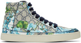 Gucci Beige and Navy Gg Supreme Floral High-top Sneakers