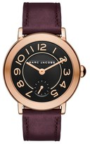 Marc Jacobs 'Riley' Round Leather Strap Watch, 36mm
