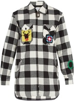 J.W.Anderson Crochet-patch cotton-gingham oversized shirt