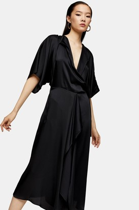 Topshop Womens **Black Wrap Front Dress By Black