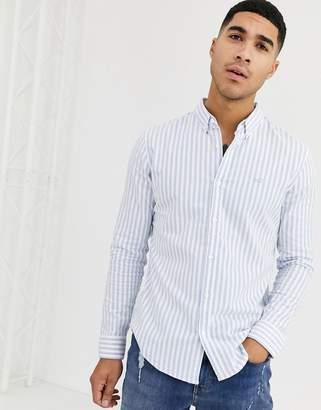 Hollister icon logo slim fit bold stripe buttondown oxford shirt in blue