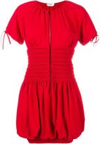 Fendi Smocked Short Sleeve Dress - women - Silk/Polyester/Acetate/Viscose - 38