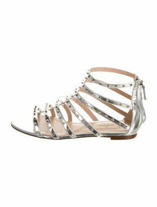 Valentino Rockstud Accents Leather Gladiator Sandals Silver