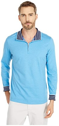 Robert Graham Triple Crown 1/4 Zip Sweater (Light Blue) Men's Clothing