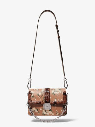 Michael Kors Crawford Floral Calf Leather and Python Crossbody Bag