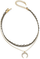 INC International Concepts Two-Tone Pave Double Row Choker & Moon Pendant Necklace, Created for Macy's