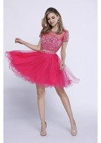 Nox Anabel - Two Piece Bateau Illusion Cocktail Dress with Short Sleeves and Tulle Skirt 6229