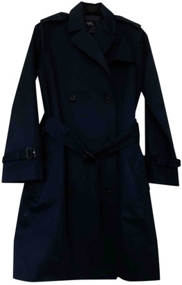 A.P.C. Navy Cotton Trench Coat for Women