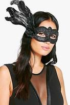 boohoo Womens Halloween Diana Floral Masquerade Mask in Black size One Size
