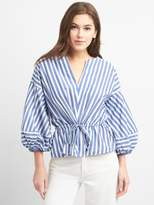 Gap Stripe Balloon Sleeve Top with Cinched Waist