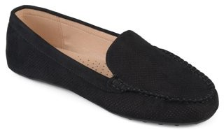 Brinley Co. Women's Comfort Sole Faux Nubuck Laser Cut Loafers