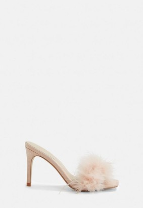 Missguided Nude Feather Faux Suede Mules