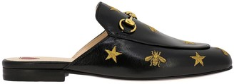 Gucci Ballet Flats Princetown Sandals In Leather With Metal Horsebit And Lurex Embroidery In The Shape Of Stars And Bees