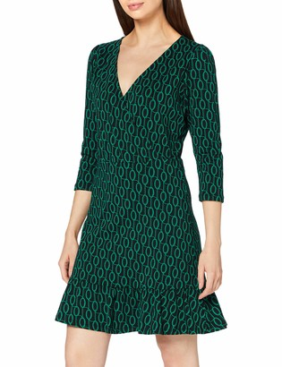 Dorothy Perkins Women's Green Geo Three Quarter Sleeve Wrap Dress Casual 20