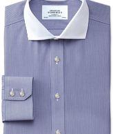 Charles Tyrwhitt Extra slim fit cutaway collar non-iron Winchester bengal stripe navy shirt