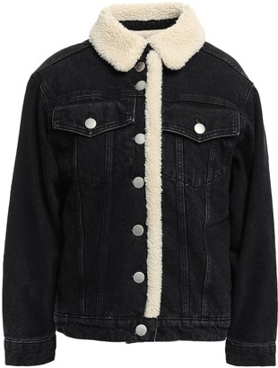 Maje Faux Shearling-lined Denim Jacket