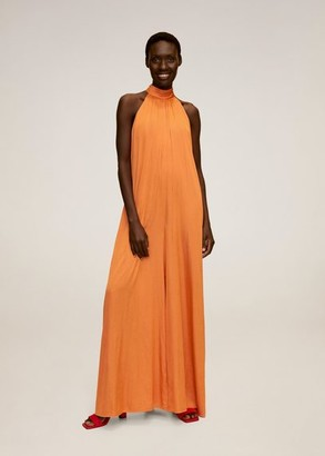 MANGO Long satin jumpsuit orange - M - Women