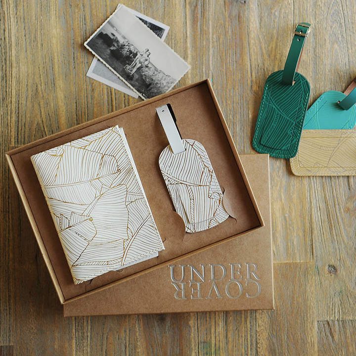 Undercover Recycled Leather Palm Passport Cover And Luggage Label