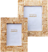 Twos Company Golden Criss-Cross Shimmering Photo Frames (Set of 2)