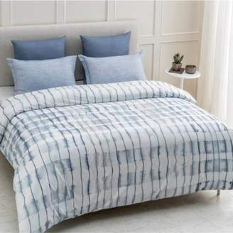 """A1 Home Collections A1HC Echelon Reversible Print 100% Organic Cotton Wrinkle Resistant Duvet Cover and Sham Set of 2 with Internal Ties and Button Closure, 88"""" x 92"""", Queen, Blue"""