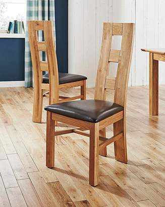 At Home Luxe Rutland Pair Of Solid Oak Dining Chairs