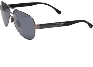 HUGO BOSS Mens Sunglasses Matt Black Dark Ruthenium Carbon