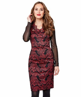 Joe Browns Womens Lace Bodycon Dress with Sheer Sleeves Red 12