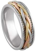 American Set Co. Men's Tri-Color Platinum & 18k White Yellow Rose Gold Braided 7mm Comfort Fit Wedding Band Ring size 9.5