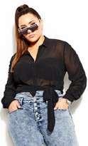City Chic Rouched Sleeve Top - black
