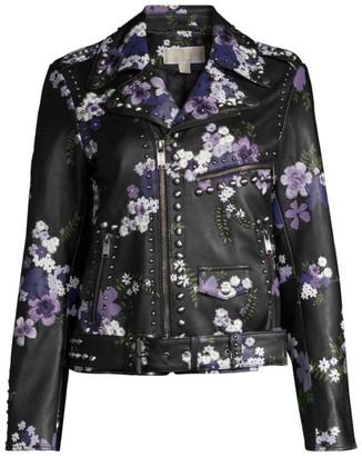 MICHAEL Michael Kors Bouquet Studded Leather Moto Jacket