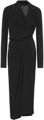 Rick Owens Silk-blend crepe wrap dress