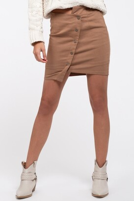 J.o.a. Button Up Asymmetrical Mini Skirt
