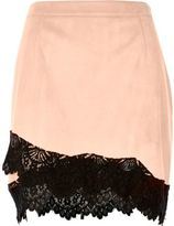 River Island Womens Light pink faux suede lace hem mini skirt