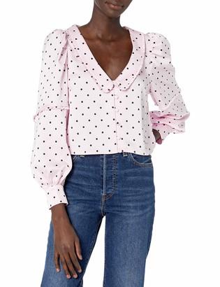 For Love & Lemons Women's Polk dot Button Fron Blouse
