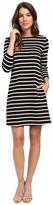 Lilla P Heavy Stripe Jersey 3/4 Sleeve A-Line Dress