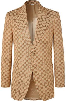 Gucci Beige Slim-Fit Logo-Jacquard Cotton-Blend Suit Jacket