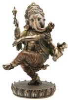 """Ganesh Top Collection 8"""" Tall Dancing on Lotus Pedestal Statue. Hindu Elephant God of Success. Bronze Powder Mixed with Resin. Bronze Finish with Color Accents."""