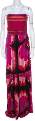M Missoni Multicolor Printed Jersey Strapless Maxi Dress M