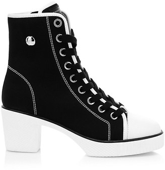 Giuseppe Zanotti High-Top Shearling-Lined Canvas Block-Heel Sneakers