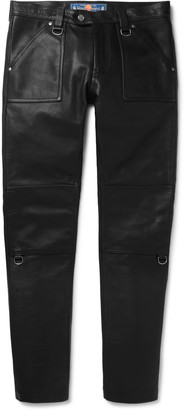 Blackmeans Slim-Fit Panelled Leather Trousers
