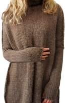 YOUJIA Womens Long Knitted Jumper Turtleneck Long Sleeve Sweater (Coffee, M)