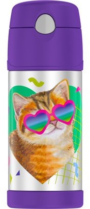 Thermos 12 Oz Funtainer Vacuum Insulated Stainless Steel Straw Bottle, Cat
