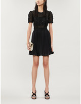 Self-Portrait Self Portrait Sequin-embellished pleated tulle and crepe mini dress